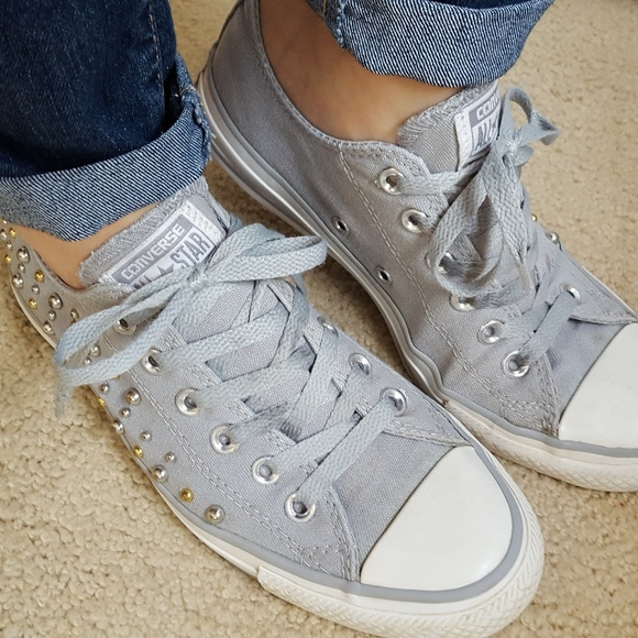 9e7df3353588 Converse Shoes - Converse size women s 8 grey stud low top sneakers